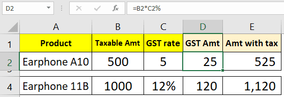 Calculate GST tax amount in Excel