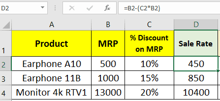 Calculate price after discount in Excel- Method1