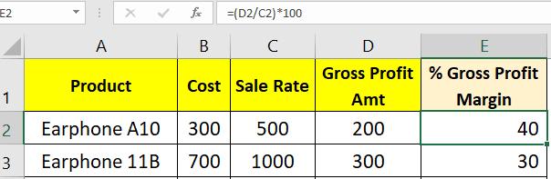 Gross margin percentage calculation in Excel