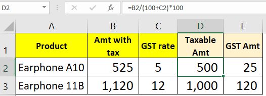 Reverse GST calculation formula in Excel
